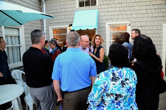 Gathering crowd outside of Aquatro Gallery during their Grand Opening