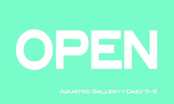 Open Sign For The Door At Aquatro Gallery