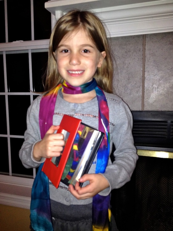 Emerson Gets Ready For Sharing Day With Her Scarf & Presentation Book