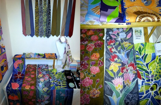 photos of hand-painted silk scarves and fashion accessories