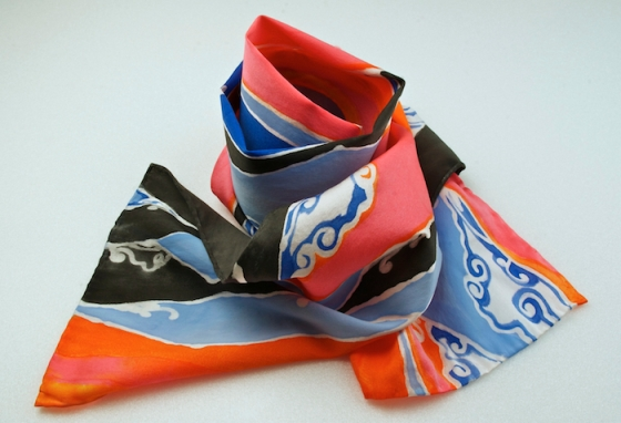 hand-painted scarf by Adriana Mederos titled Smoky Mountain Dawn
