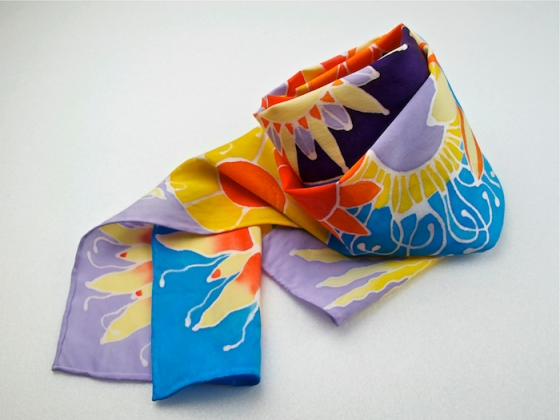 hand-painted scarf by Adriana Mederos titled Sun, Moon and Stars